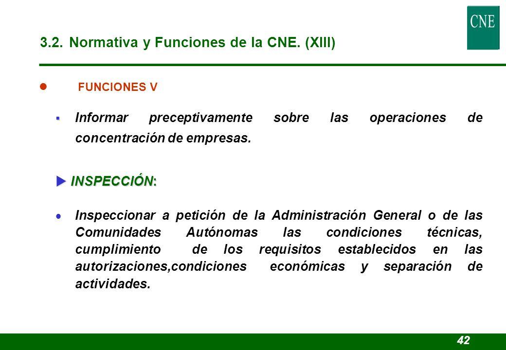 3.2. Normativa y Funciones de la CNE. (XIII)