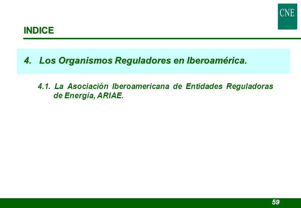4. Los Organismos Reguladores en Iberoamérica.