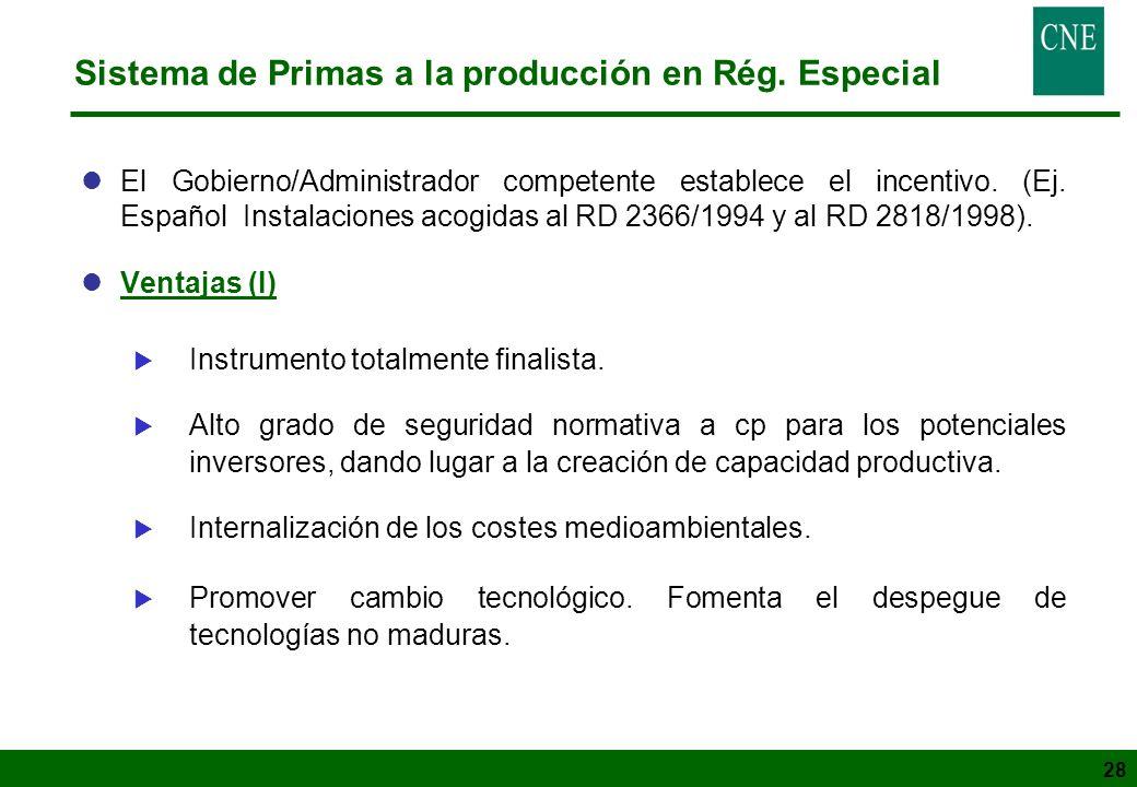 Sistema de Primas a la producción en Rég. Especial