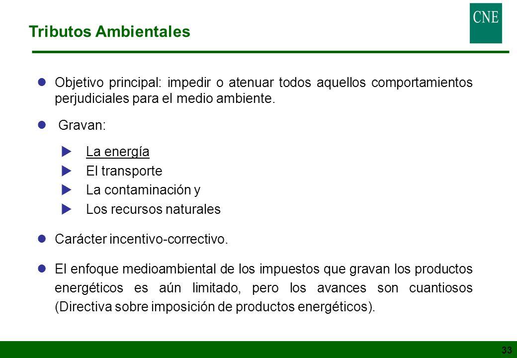 Tributos Ambientales Objetivo principal: impedir o atenuar todos aquellos comportamientos perjudiciales para el medio ambiente.