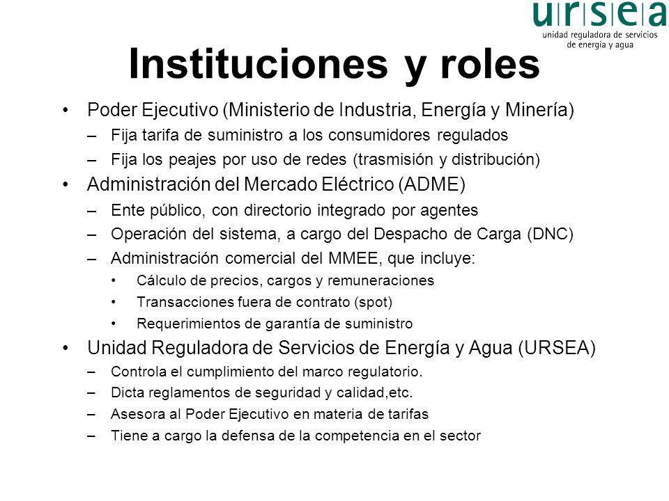 Instituciones y roles Poder Ejecutivo (Ministerio de Industria, Energía y Minería) Fija tarifa de suministro a los consumidores regulados.