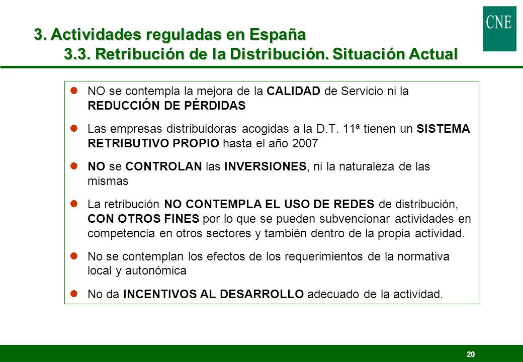 3. Actividades reguladas en España 3.3. Retribución de la Distribución. Situación Actual