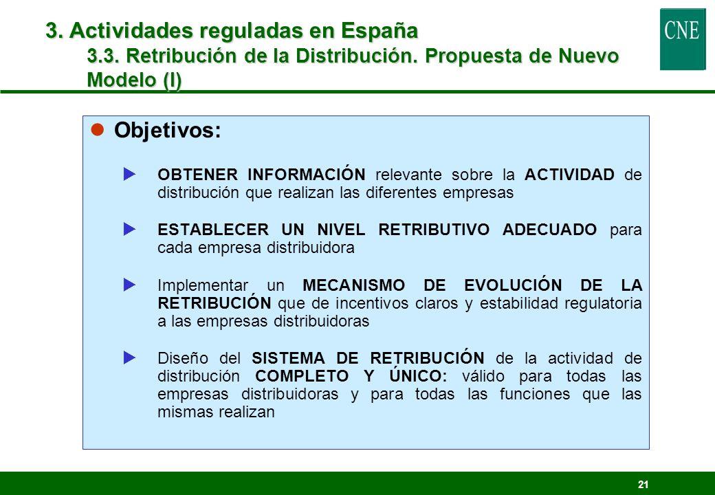 3. Actividades reguladas en España 3.3. Retribución de la Distribución. Propuesta de Nuevo Modelo (I)