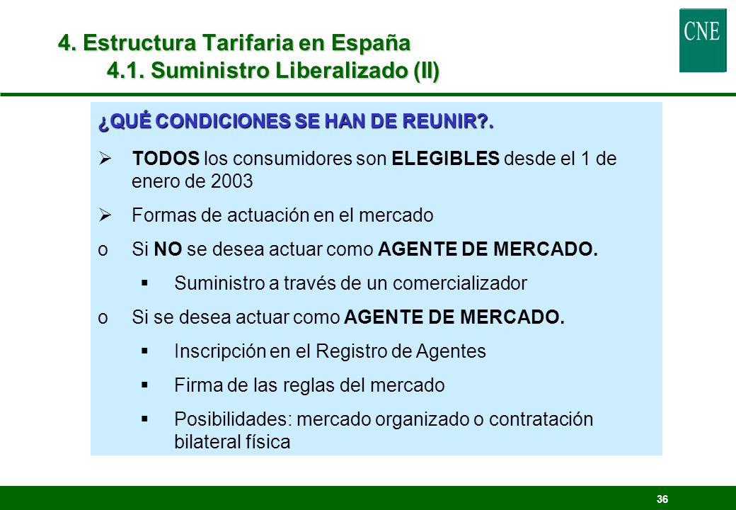 4. Estructura Tarifaria en España 4.1. Suministro Liberalizado (II)