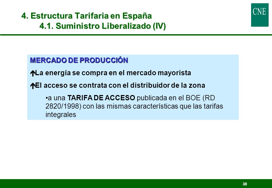 4. Estructura Tarifaria en España 4.1. Suministro Liberalizado (IV)