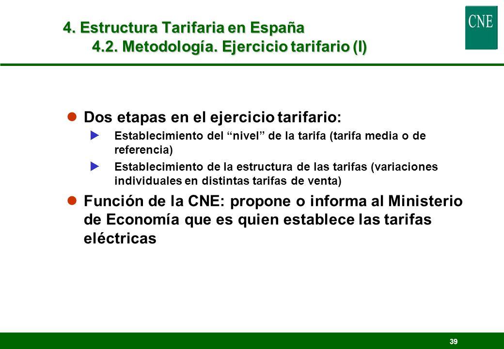 Dos etapas en el ejercicio tarifario: