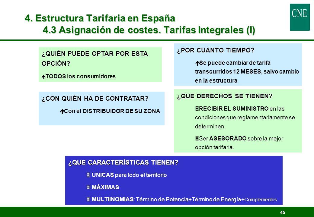 4. Estructura Tarifaria en España 4. 3 Asignación de costes