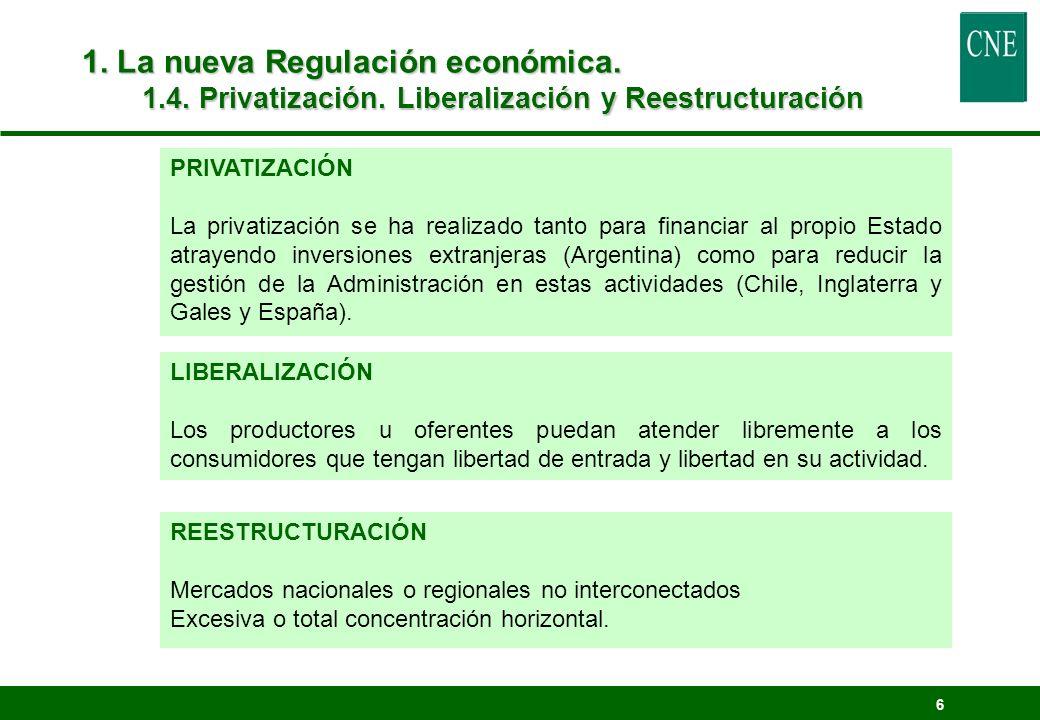 1. La nueva Regulación económica. 1. 4. Privatización