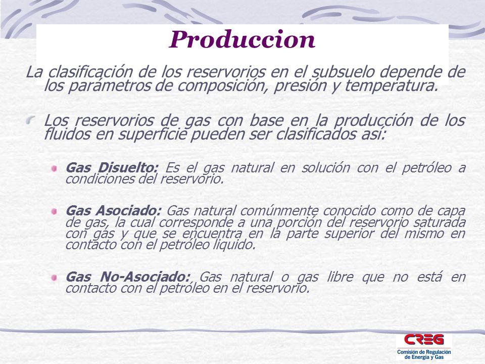 Produccion La clasificación de los reservorios en el subsuelo depende de los parámetros de composición, presión y temperatura.