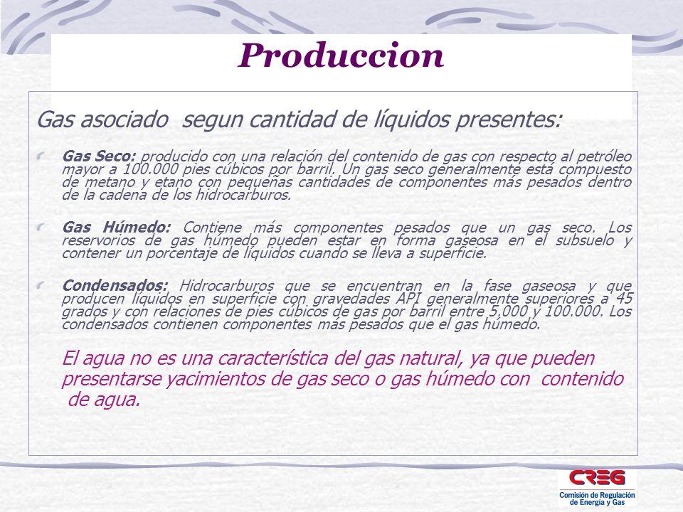 Produccion Gas asociado segun cantidad de líquidos presentes: