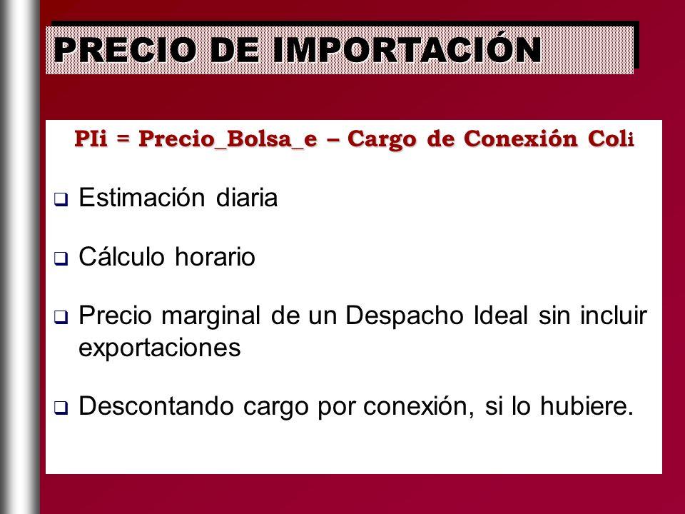 PIi = Precio_Bolsa_e – Cargo de Conexión Coli