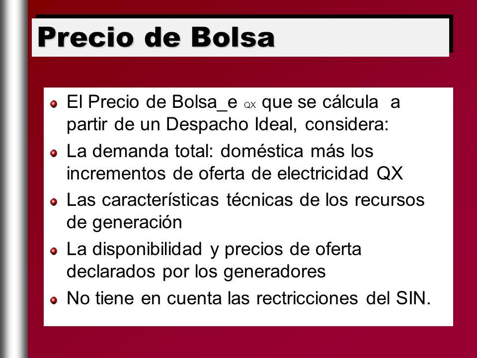 Precio de Bolsa El Precio de Bolsa_e QX que se cálcula a partir de un Despacho Ideal, considera: