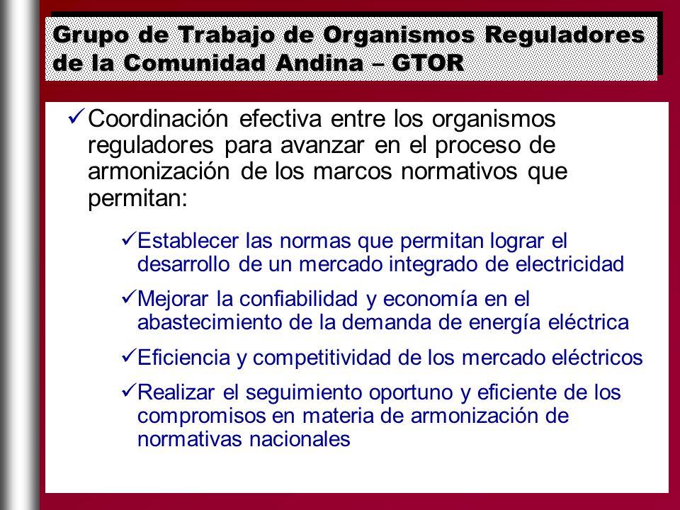 Grupo de Trabajo de Organismos Reguladores de la Comunidad Andina – GTOR