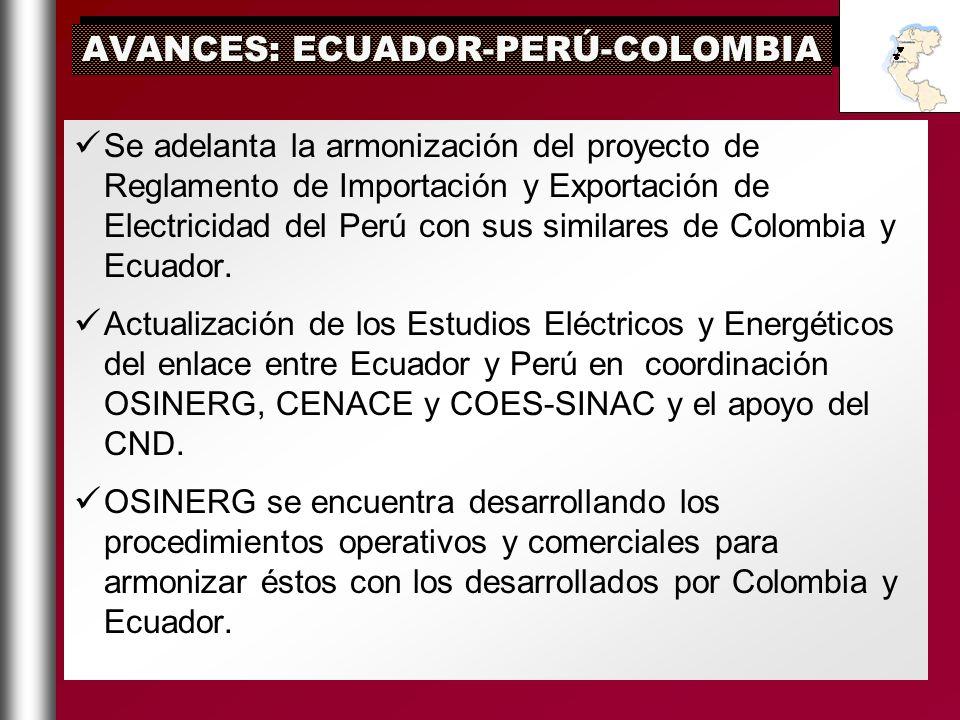 AVANCES: ECUADOR-PERÚ-COLOMBIA