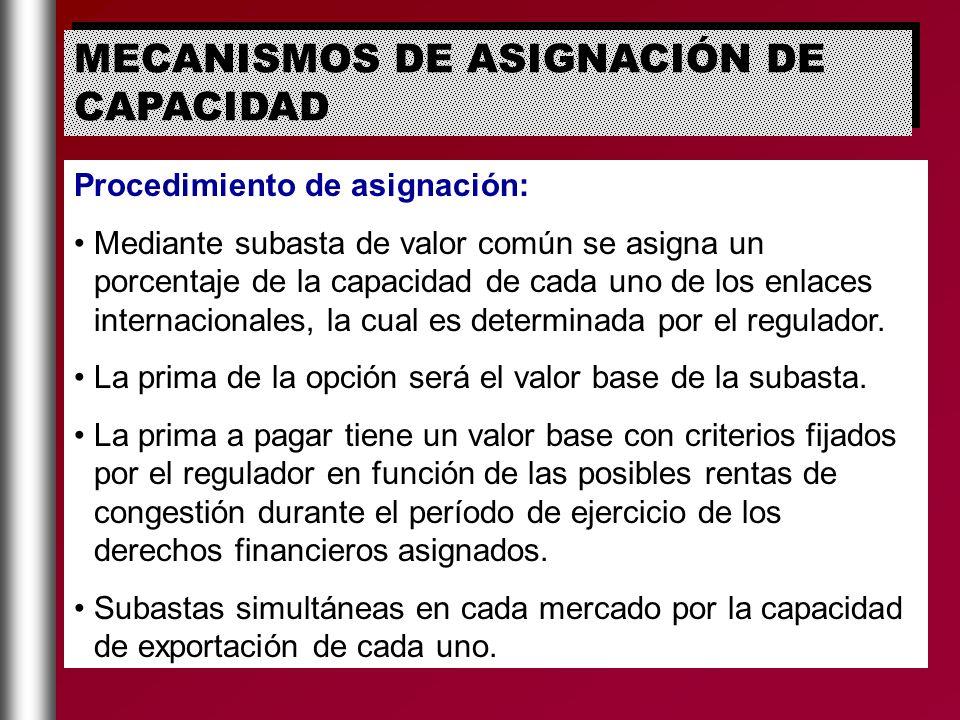 MECANISMOS DE ASIGNACIÓN DE CAPACIDAD