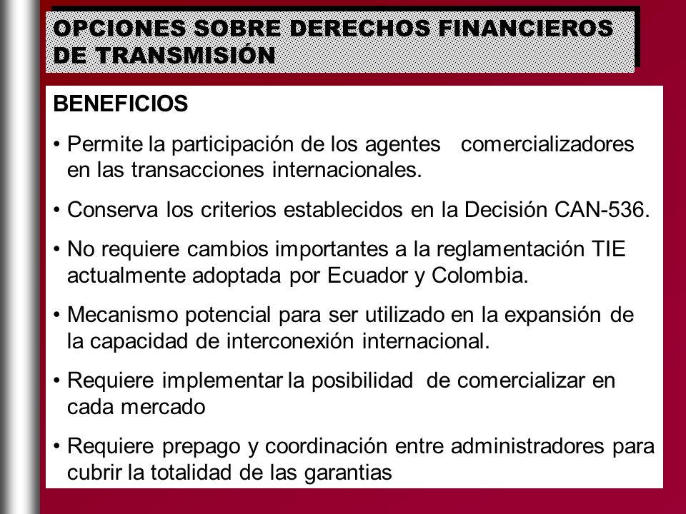 OPCIONES SOBRE DERECHOS FINANCIEROS DE TRANSMISIÓN