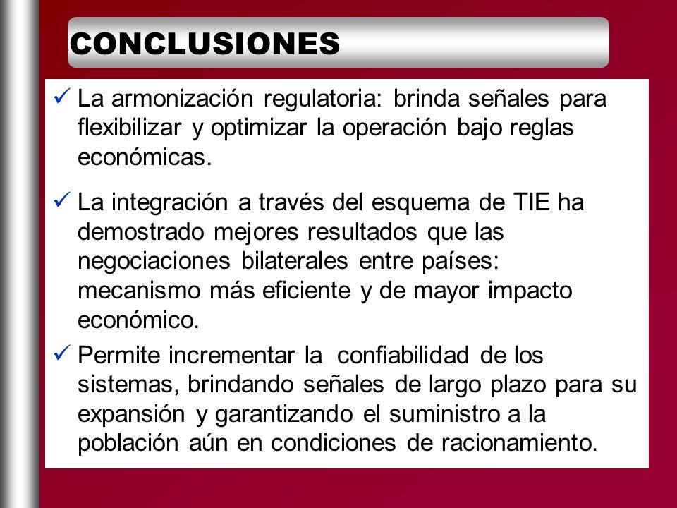 CONCLUSIONES La armonización regulatoria: brinda señales para flexibilizar y optimizar la operación bajo reglas económicas.