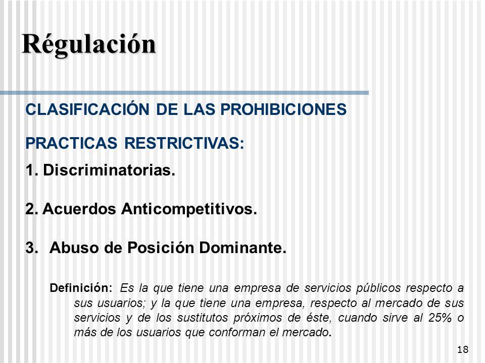 Régulación CLASIFICACIÓN DE LAS PROHIBICIONES PRACTICAS RESTRICTIVAS: