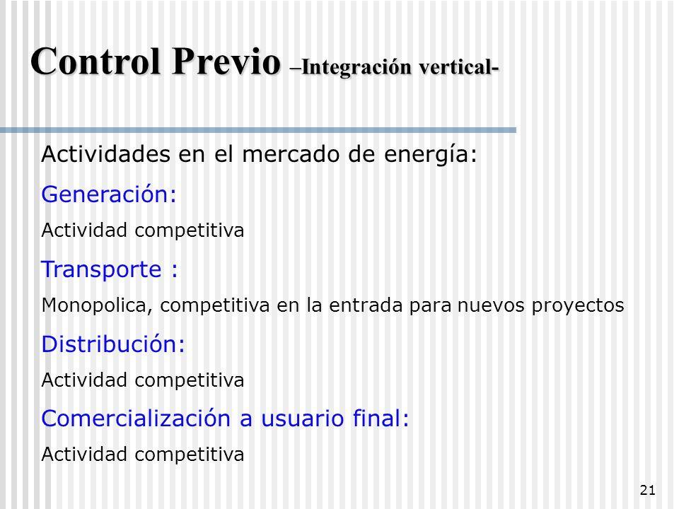 Control Previo –Integración vertical-