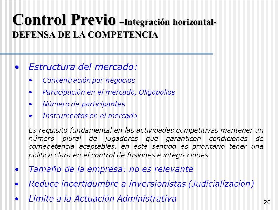 Control Previo –Integración horizontal-
