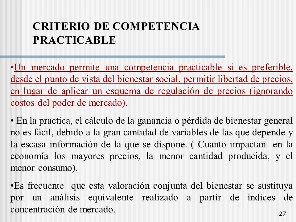 CRITERIO DE COMPETENCIA PRACTICABLE