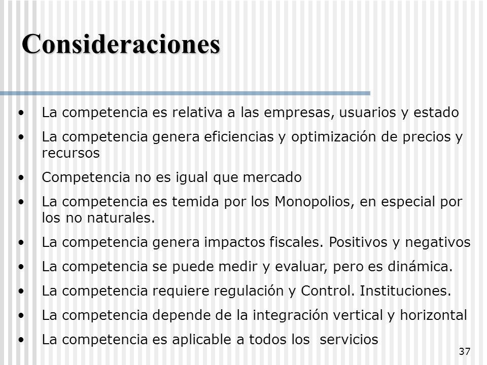 Consideraciones La competencia es relativa a las empresas, usuarios y estado. La competencia genera eficiencias y optimización de precios y recursos.