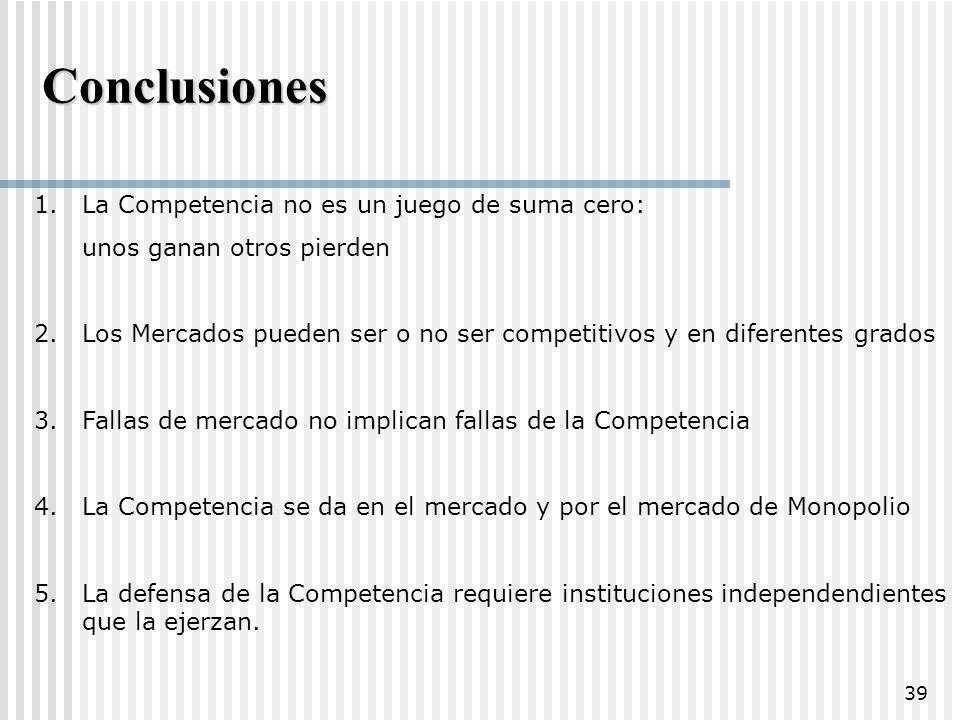 Conclusiones La Competencia no es un juego de suma cero: