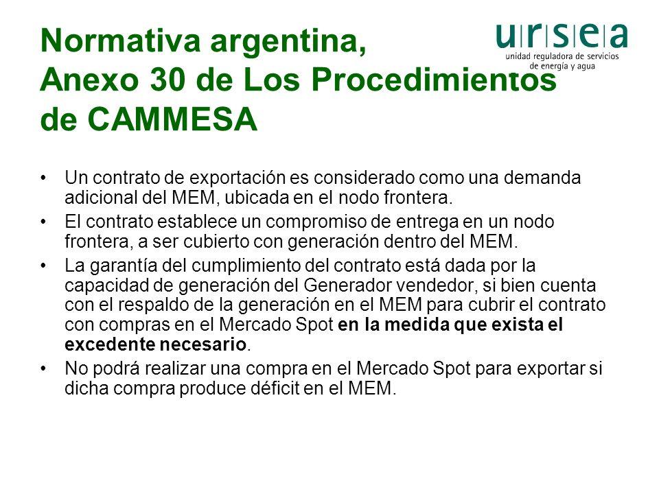 Normativa argentina, Anexo 30 de Los Procedimientos de CAMMESA
