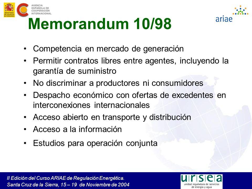 Memorandum 10/98 Competencia en mercado de generación