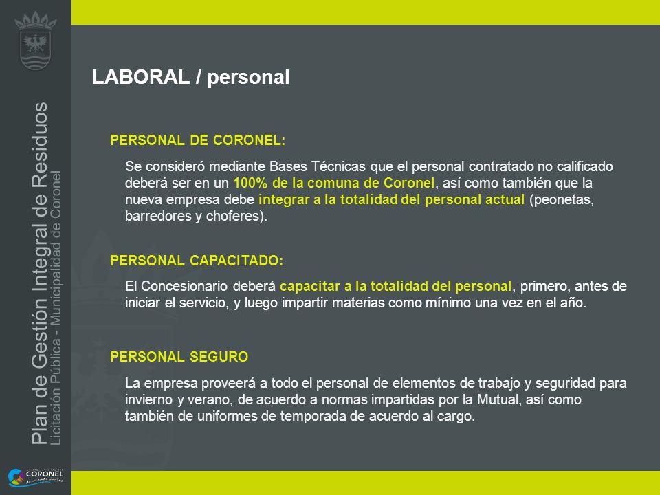 LABORAL / personal PERSONAL DE CORONEL: