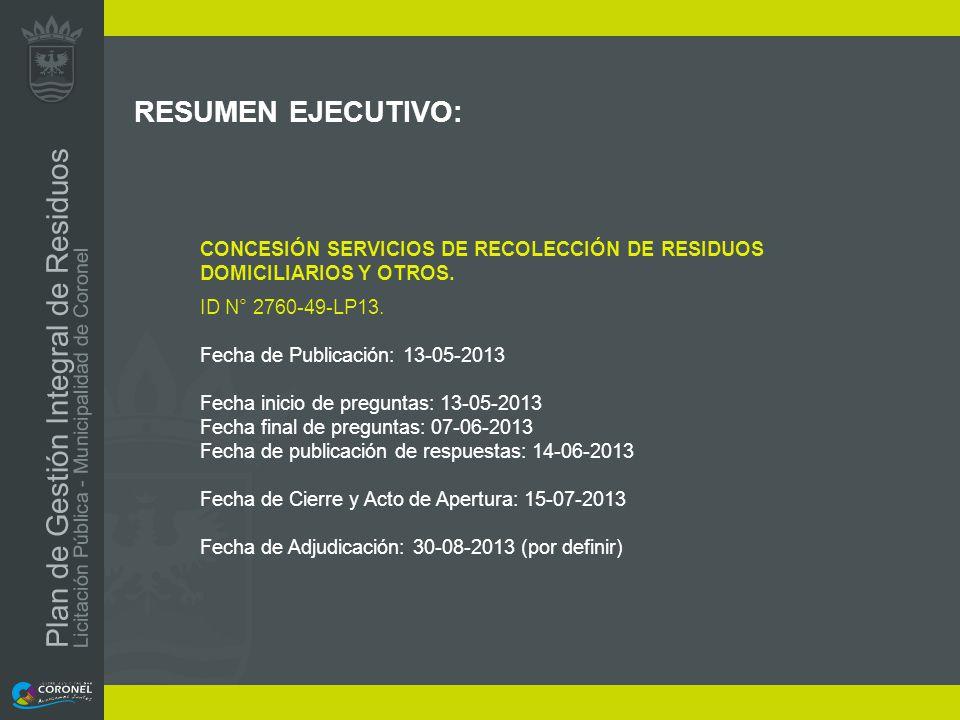 RESUMEN EJECUTIVO: CONCESIÓN SERVICIOS DE RECOLECCIÓN DE RESIDUOS DOMICILIARIOS Y OTROS. ID N° 2760-49-LP13.