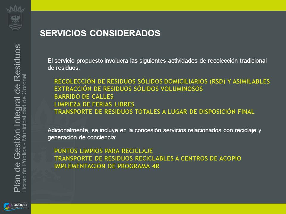 SERVICIOS CONSIDERADOS