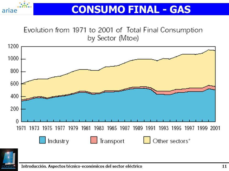 CONSUMO FINAL - GAS Introducción. Aspectos técnico-económicos del sector eléctrico