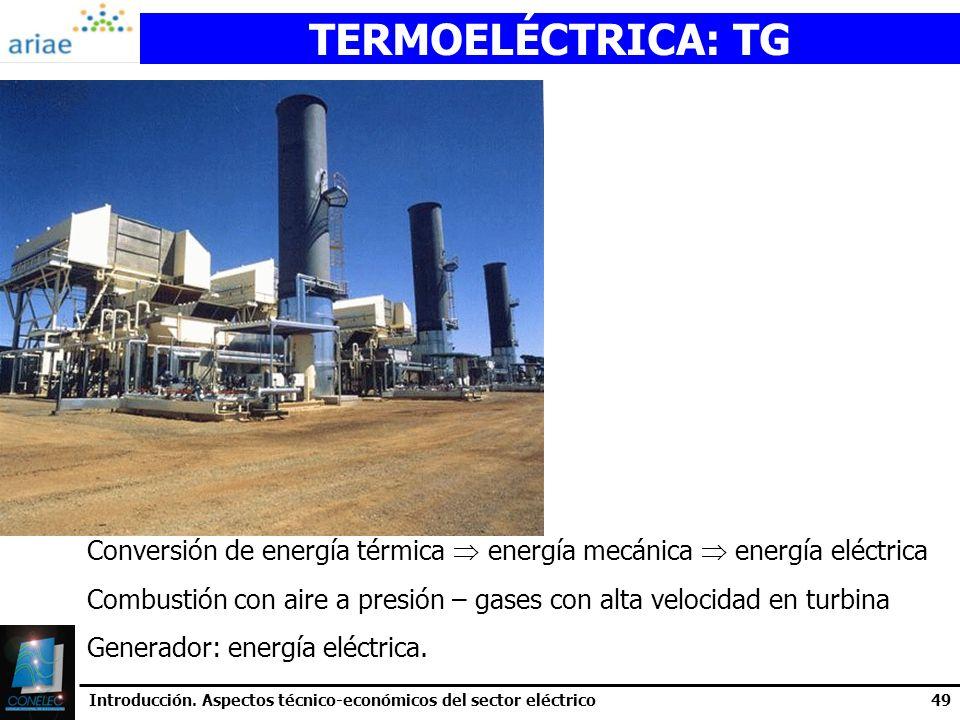 TERMOELÉCTRICA: TG Conversión de energía térmica  energía mecánica  energía eléctrica.