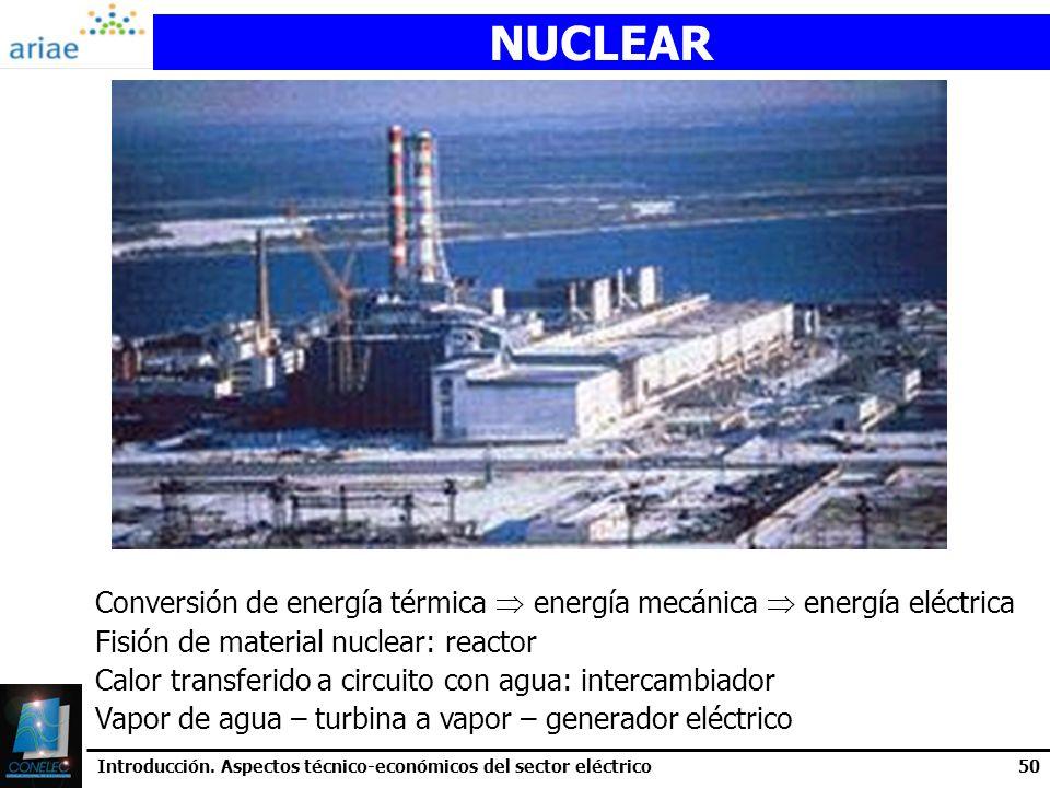 NUCLEAR Conversión de energía térmica  energía mecánica  energía eléctrica. Fisión de material nuclear: reactor.