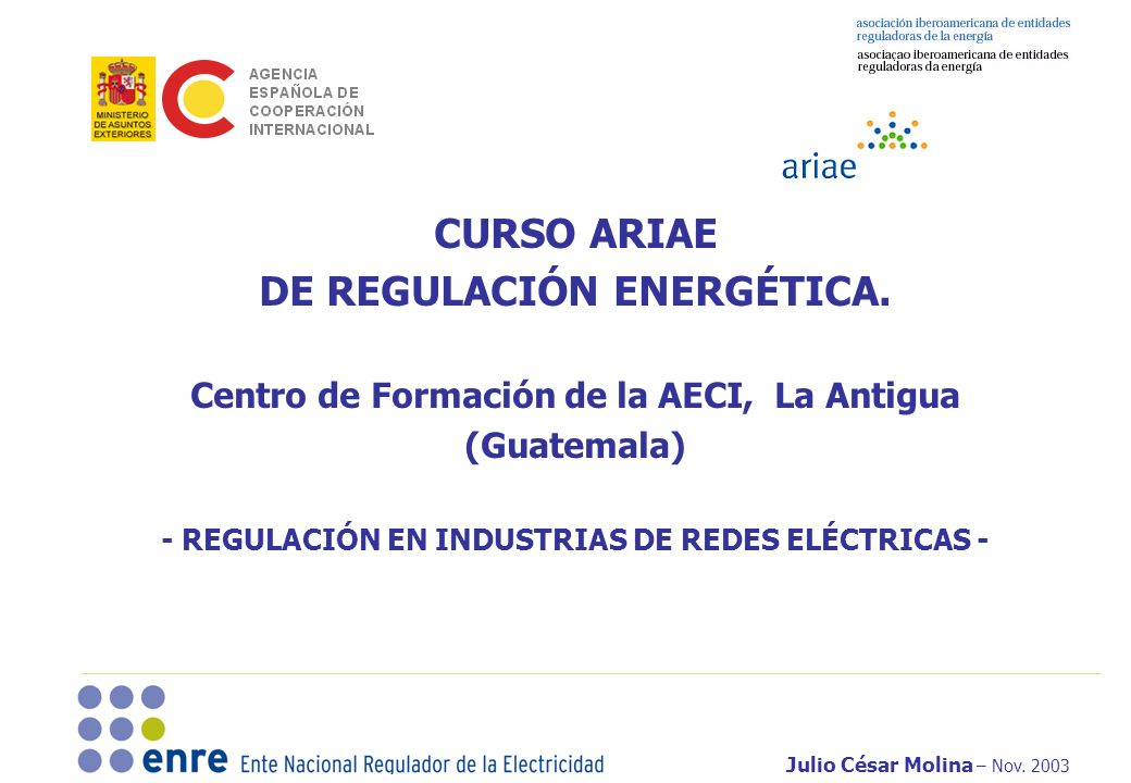CURSO ARIAE DE REGULACIÓN ENERGÉTICA.