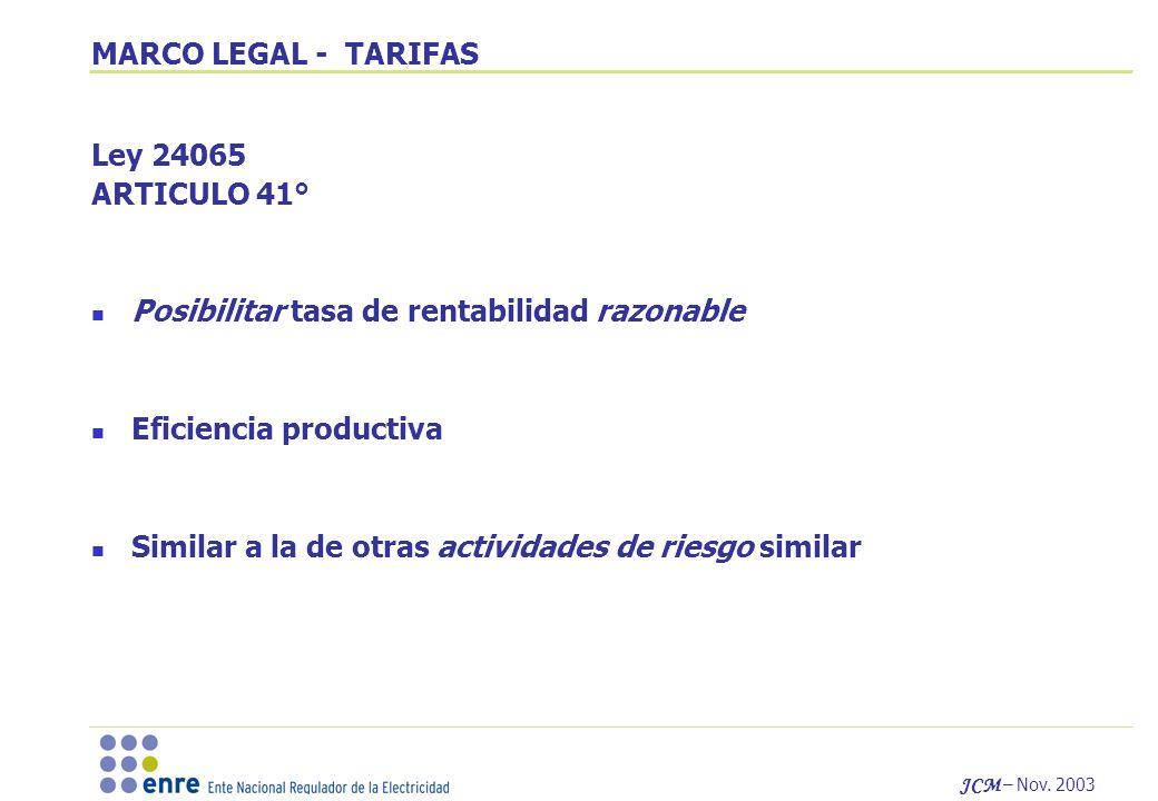 MARCO LEGAL - TARIFAS Ley 24065. ARTICULO 41° Posibilitar tasa de rentabilidad razonable. Eficiencia productiva.