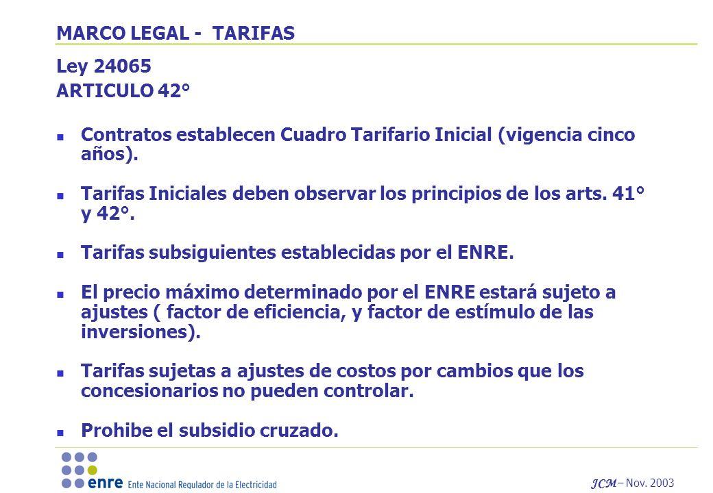 MARCO LEGAL - TARIFAS Ley 24065. ARTICULO 42° Contratos establecen Cuadro Tarifario Inicial (vigencia cinco años).