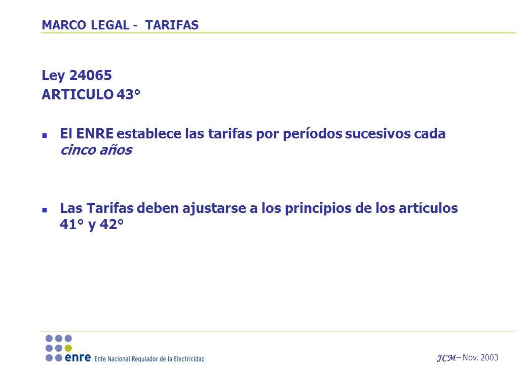 El ENRE establece las tarifas por períodos sucesivos cada cinco años
