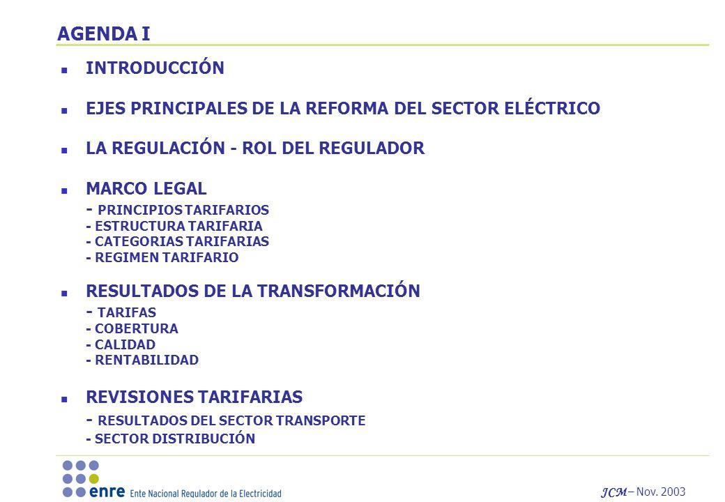 AGENDA I INTRODUCCIÓN. EJES PRINCIPALES DE LA REFORMA DEL SECTOR ELÉCTRICO. LA REGULACIÓN - ROL DEL REGULADOR.