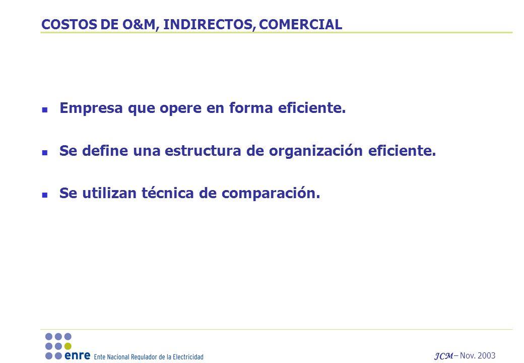COSTOS DE O&M, INDIRECTOS, COMERCIAL