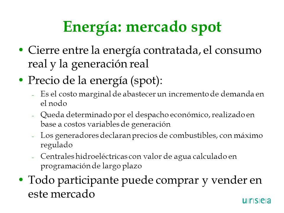 Energía: mercado spot Cierre entre la energía contratada, el consumo real y la generación real. Precio de la energía (spot):