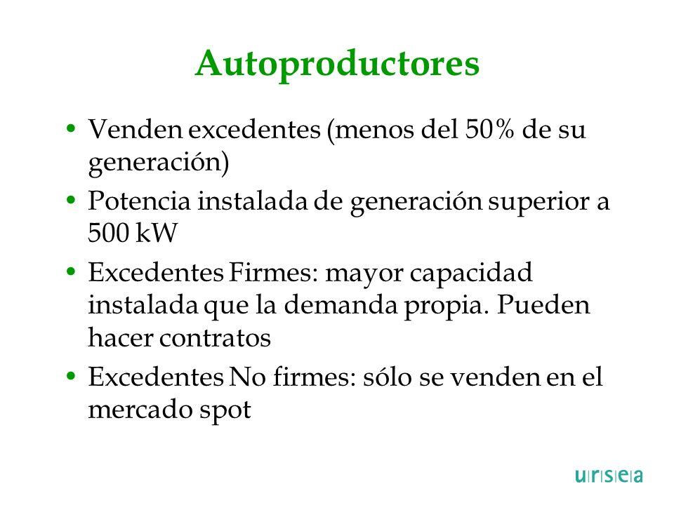 Autoproductores Venden excedentes (menos del 50% de su generación)