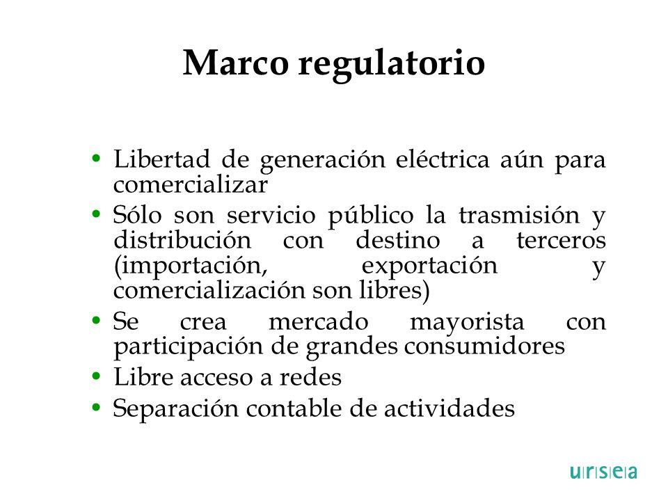 Marco regulatorio Libertad de generación eléctrica aún para comercializar.