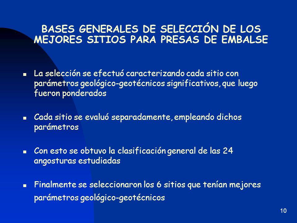 BASES GENERALES DE SELECCIÓN DE LOS MEJORES SITIOS PARA PRESAS DE EMBALSE