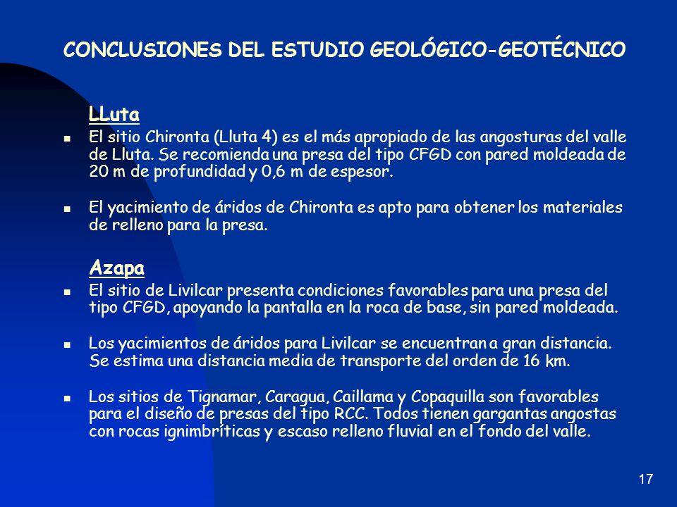 CONCLUSIONES DEL ESTUDIO GEOLÓGICO-GEOTÉCNICO