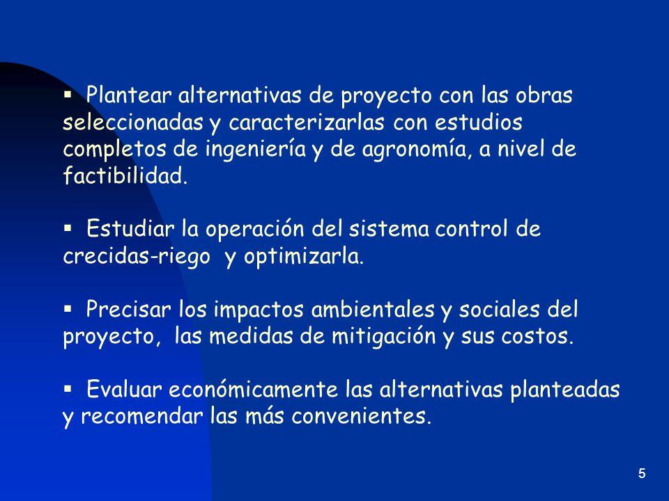 Plantear alternativas de proyecto con las obras seleccionadas y caracterizarlas con estudios completos de ingeniería y de agronomía, a nivel de factibilidad.