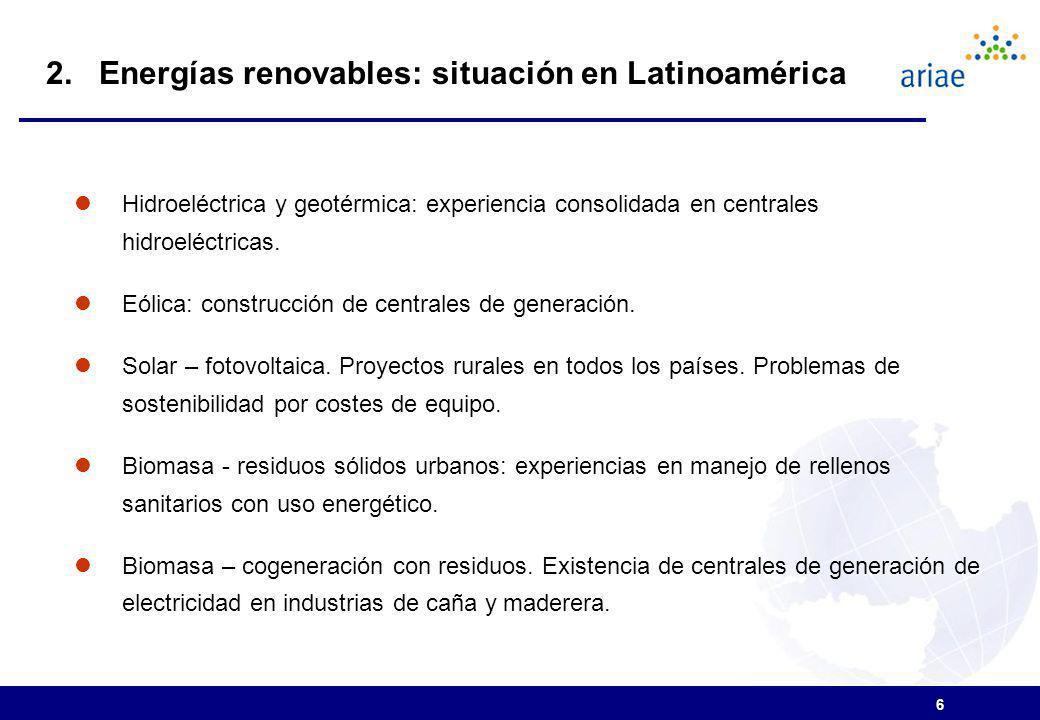 2. Energías renovables: situación en Latinoamérica