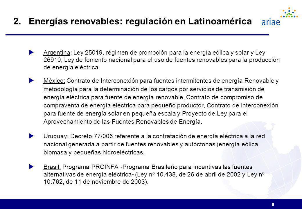 2. Energías renovables: regulación en Latinoamérica