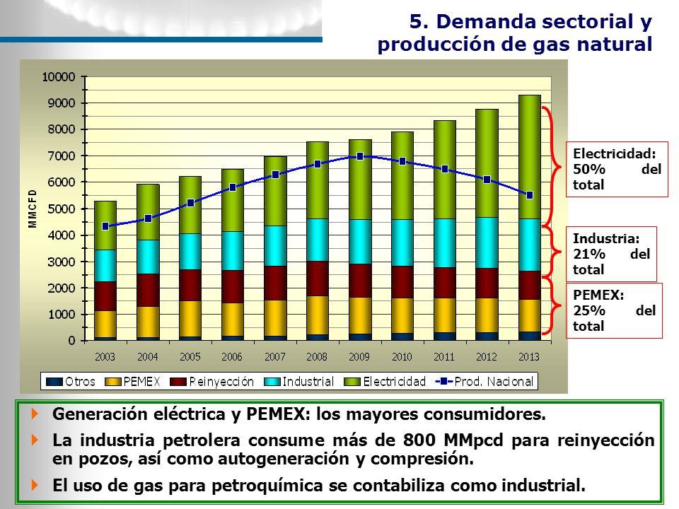 5. Demanda sectorial y producción de gas natural